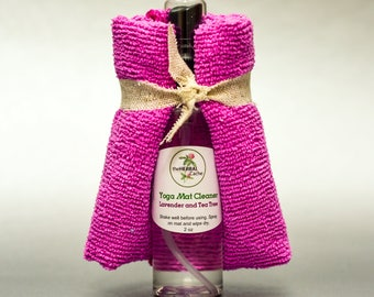 Yoga Mat Spray with Wipe Cloth - All Natural Yoga Mat Cleaner