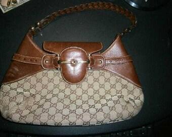 Rare Gucci signature monogram and leather hobo bag