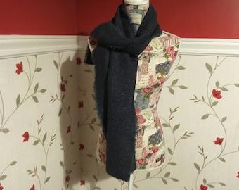Irish Tweed Scarf - Celtic Wrap - Stole - 100% Irish Wool- blue herringone
