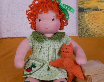 14 inch natural soft waldorf doll, ginger fabric doll, eco friendly toy, textile doll