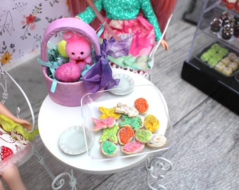 Miniature 1 Dozen Easter Spring Frosted Shaped Sugar Cookies with Sprinkles Bunnies Eggs for Blythe Barbie Playscale