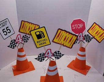 Race car themed Centerpiece. Cone Centerpiece. Construction.