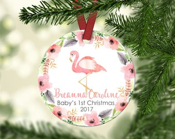 Baby's first Christmas ornament. Flamingo Christmas.Flamingo.ornament.Personalized christmas ornament.Baby's first Christmas.