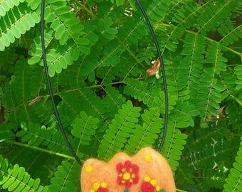 Felted Flower Folk Art Necklace