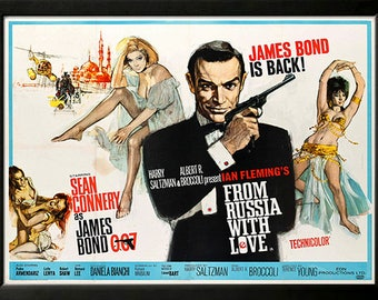 James Bond from Russia With Love Custom Framed Movie Poster Framed