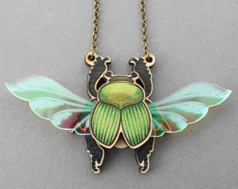 Iridescent Laser Cut Wood Scarab Beetle Insect Statement Necklace - Entomology Bug Beetle Scarab Insect Wood Acrylic Jewellery