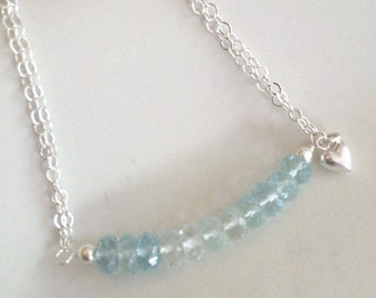 Sterling Silver Aquamarine bar necklace - March Birthstone jewellery gift