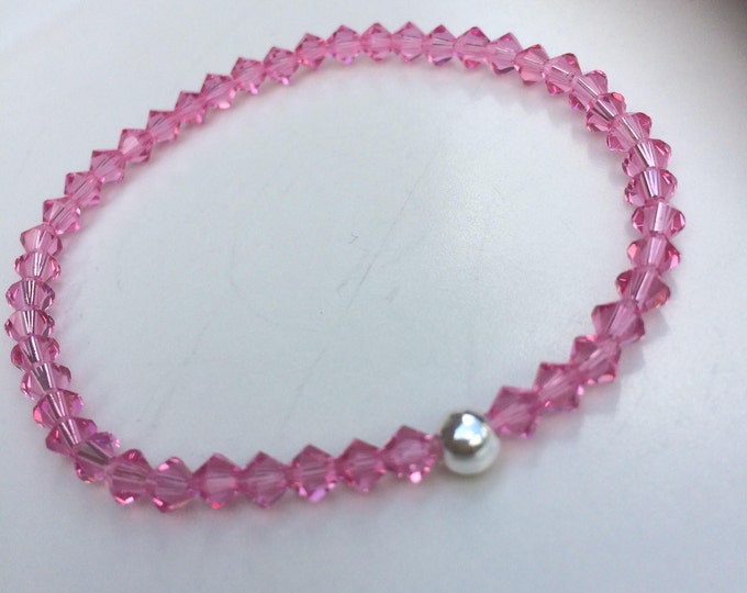 Rose Pink Swarovski crystal stretch bracelet with Sterling Silver or Gold Fill bead