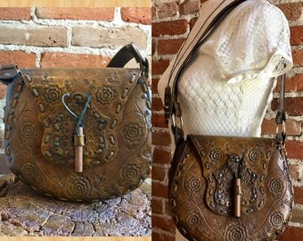 Vintage 1970's Tooled Leather Saddlebag, Boho Handbag, Festival Purse, Hippie Bag