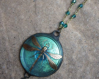 Iridescent Turquoise Czech Glass Dragonfly Pendant