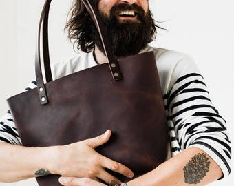 Leather Tote HUGE SALE  - Leather Bag Handmade in Portland, Full-Grain Cowhide- Award Winning Leather Tote Portland Leather Goods