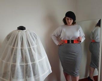 Printed sleeve houndstooth skirt