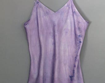 Silk camisole, size XL, hand dyed silk cami, silk blouse, silk intimates, tank top, nightshirt