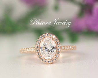 1.5 Carat Rose Gold Engagement Ring, Oval Halo Ring, Oval Cut Ring, Wedding Ring, Promise Ring