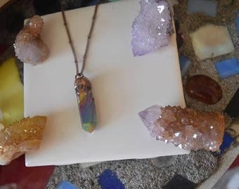 Rainbow Titanium Quartz Electroformed Necklace