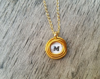 Gold  Custom Necklace, Initial Jewelry, Personalized Initial Necklace, Delicate Letter Necklace, Pendant Necklace, Initial Wrapped Pendant.