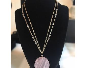 14k Gold Filled Rose Quartz Flower Of Life Pendant Necklace Beaded Necklace