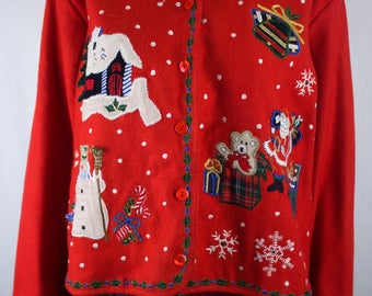 Ugly Christmas Jacket - Large - Ugly Sweater - Vintage - Snowflakes - Bears - Red - Retro - Holiday Party