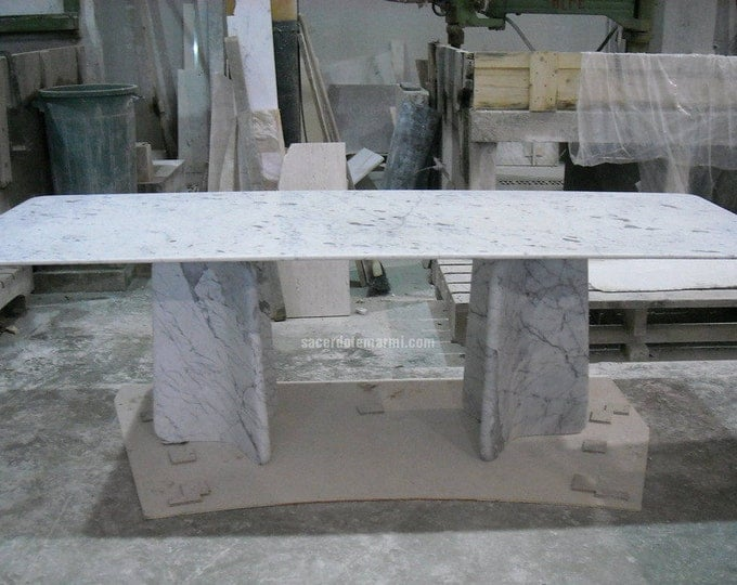 Table in Carrara Marble Original Made in Italy MODEL MINIMAL