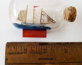 A Set Of 3 Miniature Ship in a Bottle, Nautical Art, Sail Boats, Sailing, Pirates, Vintage