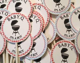 Baby Q BBQ Baby Shower Cupcake Toppers - Picnic Baby Shower Toppers