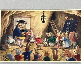 "FREE SHIPPING - Vintage Medici Unused Postcard - ""Prize Day"" - Racey Helps - Pk 263 - Rabbits Owl Woodland Art - English - Anthropomorphic"