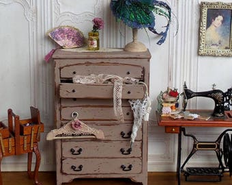 Furniture Miniature wooden chest, Shabby Chic Dresser, furniture decoration 1:12 scale Dollhouse accessory