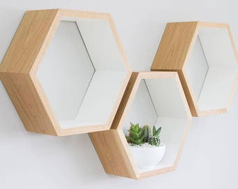 Hand Painted White Oak Hexagon Shelves | Oiled Oak Honeycomb Shelves | Farrow & Ball