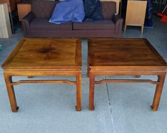 Pair Vintage Henredon Asian Style Walnut U0026 Koa Wood Coffee Tables Folio 16  Mid Century Tremendous