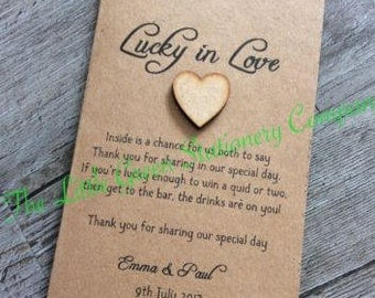10 x Vintage Rustic Personalised Wedding Favour Lottery Scratch Card Holders With Heart