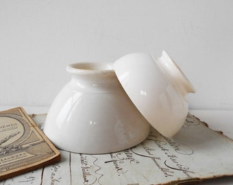RESERVED until August 19 2 French Cafe Au Lait Bowls Vintage White Ironstone Stamped