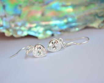 Cubic Zirconia 925 Sterling Silver Heart Earrings