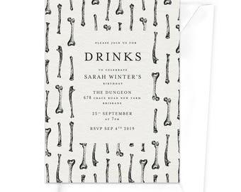 Bones Drinks Party Invitation / Horror Party Invitation / Scary Themed Party Invitation / Halloween Party Invitation