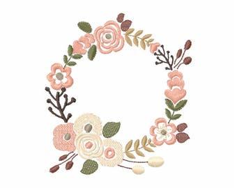 Floral Wreath Font Frame Monogram Design - EMBROIDERY DESIGN FILE - Instant download - Vp3 Hus Dst Exp Jef Pes formats 4 sizes 4x4 5x7 6x10