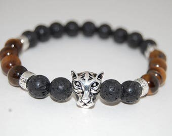 Tiger Bracelet,Lava Stone,Tiger Eye Stone,Mens Bracelet,Gemstone Beads,Gift for Him,Bracelet for Men,Tiger Head Bracelet,Man,Lava Bracelet