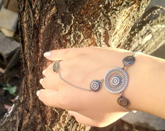"""Arm Root Handmade Silver Bracelet with Ring  """"Collection  Sun"""" . Armenian Jewelry, Armenian Silver, Armenian Bracelet, Ring, Armenian Gift"""