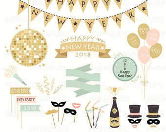 """New Year clipart: """"New Year's Eve clipart"""" with party clipart, new year clip art, chamapagne clipart, 22 images, 300 dpi. PNG, EPS files"""