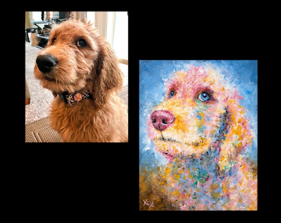 Custom Pet Painting - 12 x 12 inches or 11 x 14 inches - 1 pet