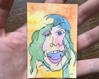 Abstract Portrait / Blind Contour Drawing / Happy Lady