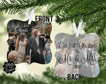 Personalized Mr and Mrs Christmas Ornament, Our First Christmas, Our First Christmas as Mr and Mrs, Custom Photo Ornament, Wedding Gift