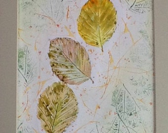Leaf painting, watercolour picture, original paintings, leaf picture, Garden lovers