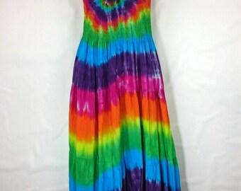 Rainbow Maxi Dress, Tie dye dress, Long hippy dress, Women's summer dress, Maxi dress, Festival clothing, Gypsy style dress, Maxi dress UK16
