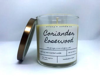 Coriander Rosewood Soy Scented Candle | Christmas Candle | Winter Candle | Fall Candle | Gift for Her | Home Fragrance | Unique Gift