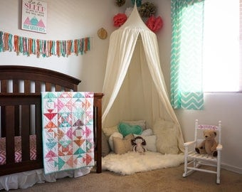 Play canopy in Ivory cotton/ hanging tent/ hanging canopy & Play canopy in white cotton/ hanging tent/ reading nook