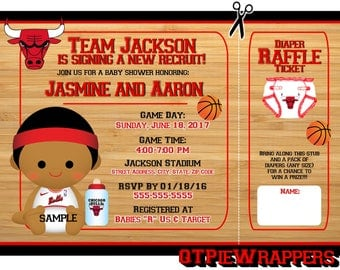 Printable Chicago Bulls Basketball Baby Shower Invitations Boy Personalized attached Diaper Raffle Ticket
