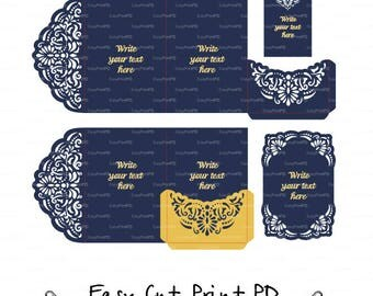Set of Tri-Fold 5x7 Wedding Invitation Pocket Envelope, 2 card SVG DXF Template filigree Quinceanera die cut Pattern Silhouette Cameo Cricut