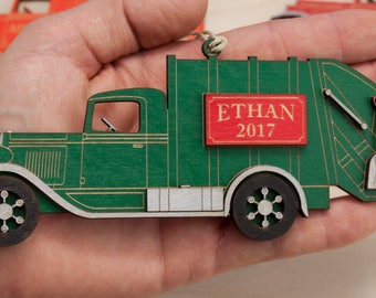 Personalized Laser Engraved Garbage Truck Christmas Ornament