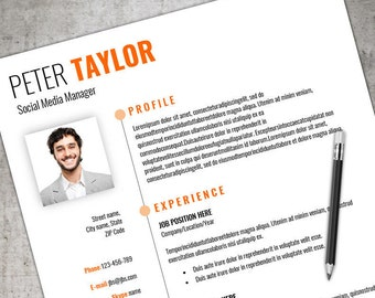 Convert Resume To Cv Cv Template Word  Etsy Best Format For A Resume Pdf with Teaching Resume Samples Word Modern Cv Template  Resume Template Instant Download For Ms Word  Cv  Template Word  Summary Section Of Resume Word