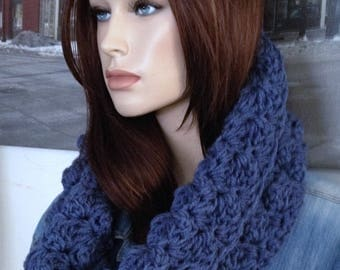 Blue Jean Blue Scarf Winter Cowl Knit Cowl Handmade Blue Accessory Thick Blanket Stitch Crocheted Scarf