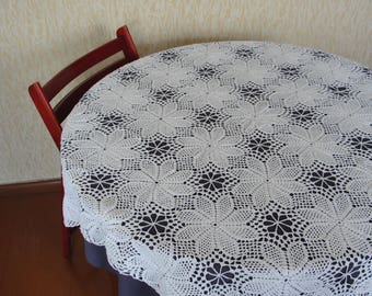 Tablecloth for round table, White crocheted tablecloth, handmade tablecloth, white tablecloth, handmade lace